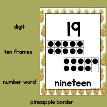 Pineapple Theme Classroom Decor Numbers 0-30 Posters