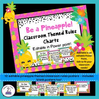 Pineapple Theme Classroom Decor Rules Posters - Editable