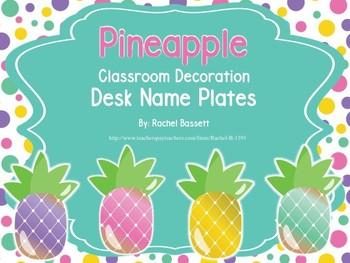 Pineapple Theme Classroom Desk Name Plates (Editable)
