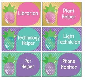 Pineapple Theme Classroom Jobs
