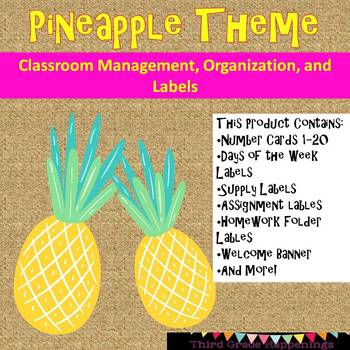 Pineapple Theme Classroom Labels