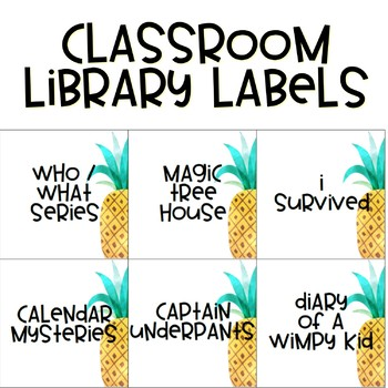 Pineapple Theme Classroom Library Labels EDITABLE