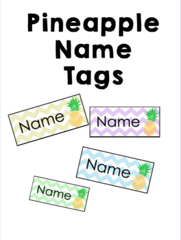 Pineapple Theme Classroom Name Tags (EDITABLE)