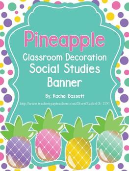 Pineapple Theme Classroom Social Studies Banner