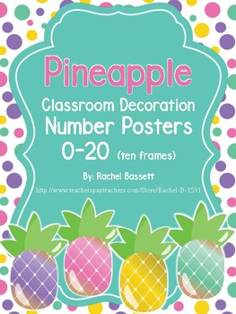 Pineapple Theme Classroom Ten Frame Number Posters 0-20