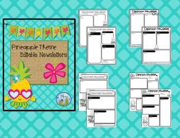 Pineapple Theme Editable Binder Covers