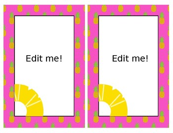 Pineapple Theme Library Labels *Editable!!*