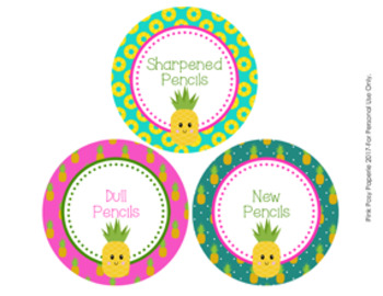Pineapple Theme Pencil Caddy Labels