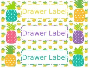 Pineapple Theme Plastic Drawer Labels