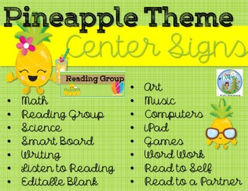 Pineapple Theme Rectangle Center Signs