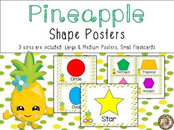 Pineapple Theme Shape Identification Posters