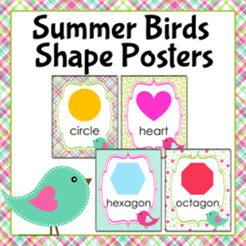Summer Birds Theme Shape Posters