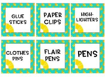 Pineapple Theme Supply Labels *Editable!!*
