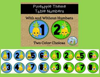 Pineapple Theme Table Numbers