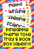Pineapple Theme Tote Tray & Book Box Labels editable