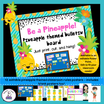 Pineapple Themed Birthday Bulletin Board