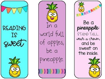 Pineapple Themed Bookmarks