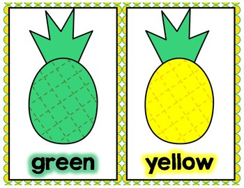 Pineapple-Themed Color Words Display