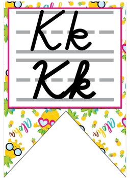 Pineapple Themed Double Alphabet Banner - Cursive and Print