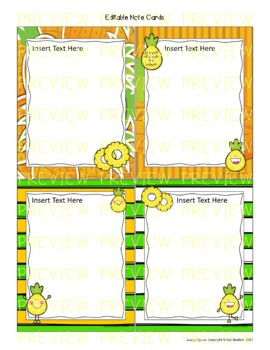 Pineapple Themed EDITABLE Stationery with Matching Note Cards