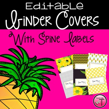 Pineapple Themed Editable Binder Covers & Spine Labels