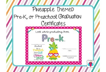 pineapple themed pre k and preschool graduation certificates by aj