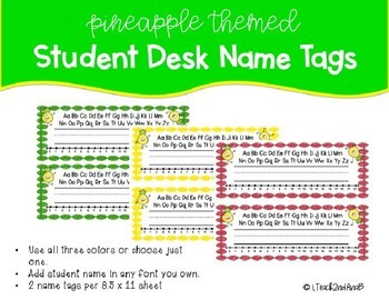 Pineapple Themed Name Desk Tags