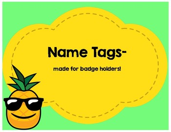 Pineapple-Themed Name Tags