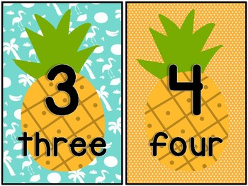 Pineapple Themed Number Posters