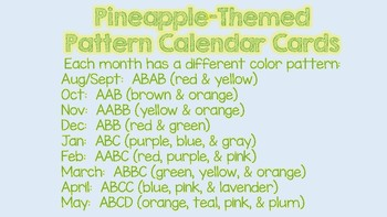Pineapple-Themed Pattern Calendar Cards