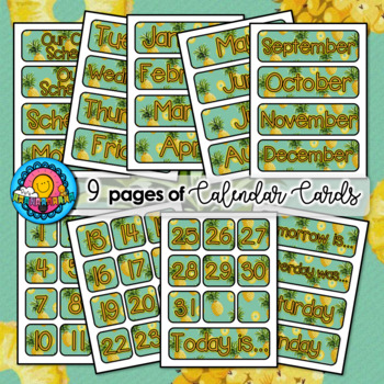 Pineapple Themed Pocket Chart Subject Daily Schedule Cards Calendar MEGA Set