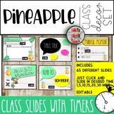Pineapple Themed Powerpoint Editable Slides with Timers Tropical Time Management