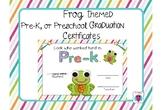 Frog Themed Pre-K, and Preschool Graduation Certificates