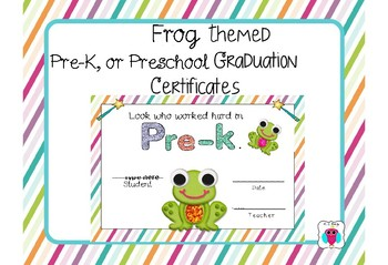 Frog Themed Pre-K, and Preschool Graduation Certificates