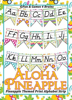 Pineapple Themed D'Nealian Print Alphabet Banner