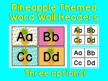 Pineapple Themed Word Wall Headers