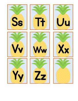 Pineapple-Themed Word Wall Letters