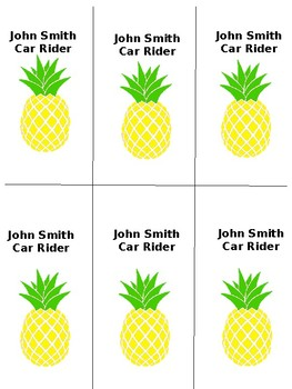 Pineapple Transportation Tags
