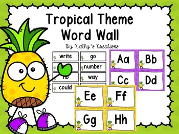 pineapple tropical word wall 200 fry words editable by kathy s