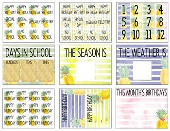 Pineapple Watercolor Classroom Calendar Set