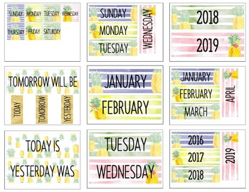 Pineapple Watercolor Classroom Calendar Set
