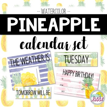 Pineapple Watercolor Calendar Set
