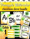 Pineapple Watercolor Classroom Decor Bundle