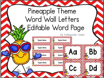 Pineapple Word Wall With Editable Word Page