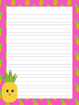 Pineapple Writing Paper - 3 Styles