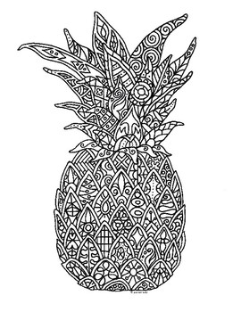 Pineapple Zentangle Coloring Page By Pamela Kennedy Tpt