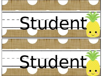 Pineapple and Burlap Name Tags