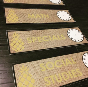 Pineapple and Burlap Schedule Cards!