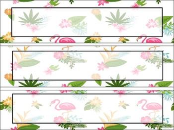 Pineapple and Flamingo Classroom Nametags