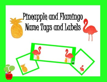 Pineapple and Flamingo Name Tags and Labels